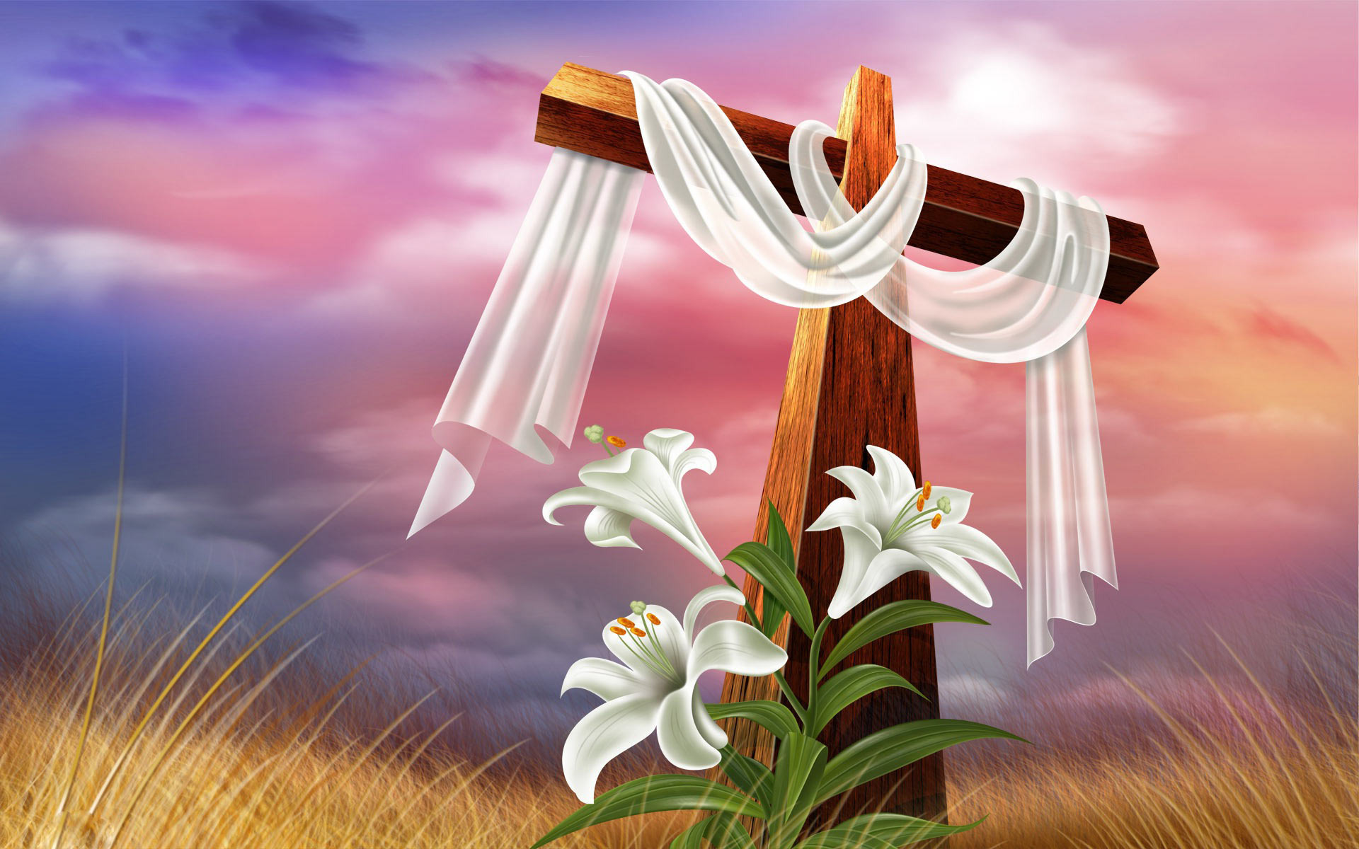 EASTER Worlds Greatest Mystery Story Wrought In Profound Peace And Silence Easter Cross Lilies Wallpaper